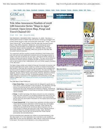 "Tele Atlas Announces Finalists of 2008 LBS Innovator Series ""Maps ..."