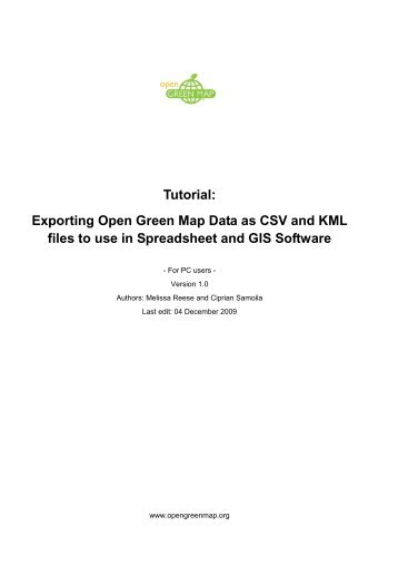 Tutorial: Exporting Open Green Map Data as CSV and KML files to ...