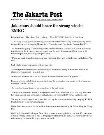 Jakartans should brace for strong winds: BMKG - Green Map System