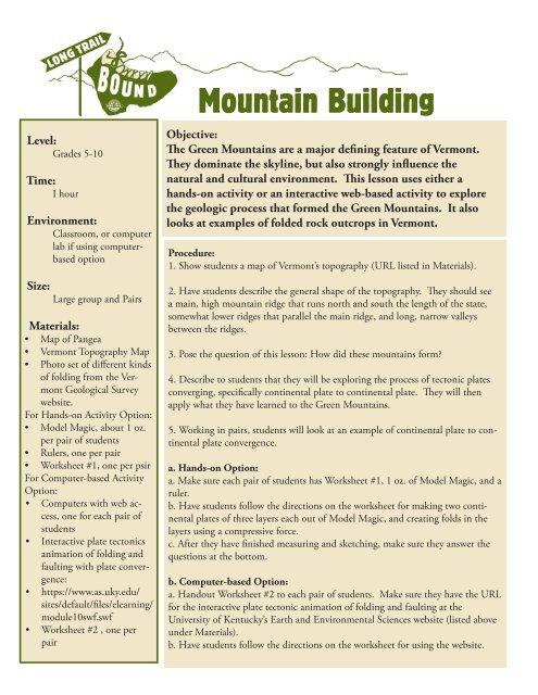Mountain Building in Vermont (PDF) - Green Mountain Club