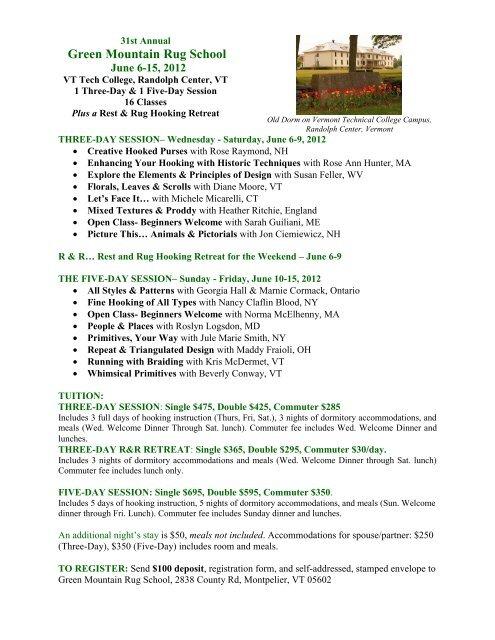 Green Mountain Rug School program details