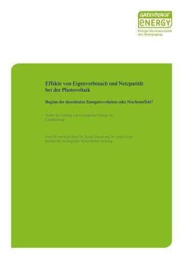 Institut für ökologische Wirtschaftsforschung - Greenpeace energy eG