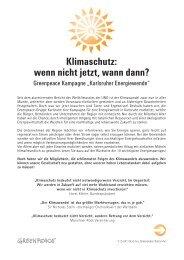 Klimaschutz: wenn nicht jetzt, wann dann? - Greenpeace Karlsruhe
