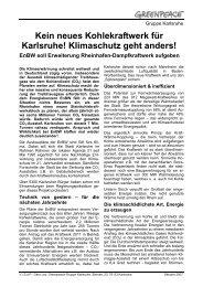 Kein neues Kohlekraftwerk für Karlsruhe! Klimaschutz geht anders!