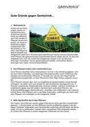 Gute Gründe gegen Gentechnik - Greenpeace