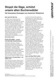 Buchenwaldkampagne - Greenpeace-Gruppe Stuttgart