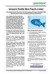 Unsere fünfte Bio-Fisch-Liste! - Greenpeace-Gruppe Stuttgart
