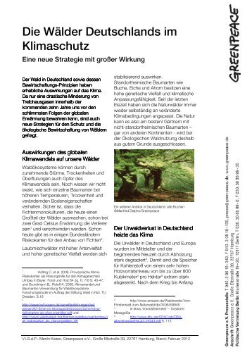 Wälder Deutschlands im Klimaschutz - Greenpeace-Gruppe Stuttgart