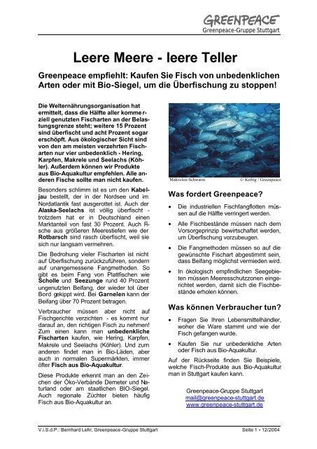 Flugblatt, Bio-Fisch-Produkte_12-04 - Greenpeace-Gruppe Stuttgart