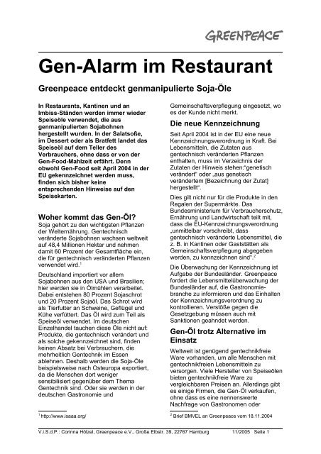Gen-Alarm im Restaurant - Greenpeace-Gruppe Stuttgart