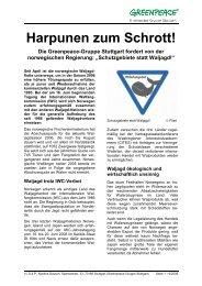 Harpunen zum Schrott! - Greenpeace-Gruppe Stuttgart