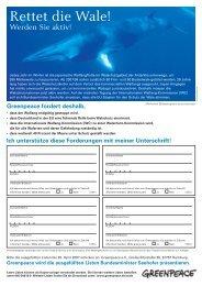 Rettet die Wale! - Greenpeace Gruppen in Deutschland