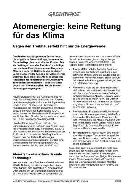 Atomenergie: keine Rettung für das Klima - Greenpeace