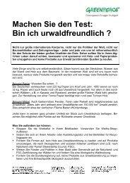 Bin ich urwaldfreundlich - Greenpeace-Gruppe Stuttgart