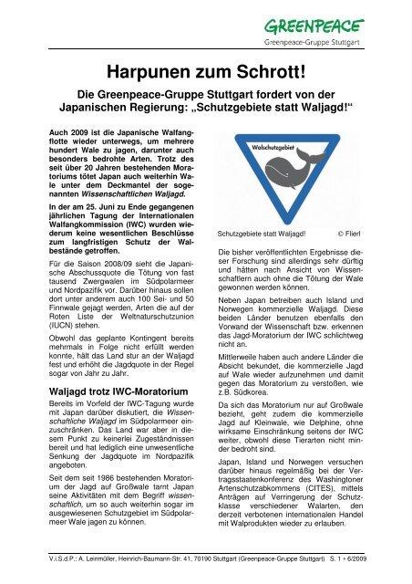 """""""Harpunen zum Schrott!"""" (in Japan) - Greenpeace-Gruppe Stuttgart"""