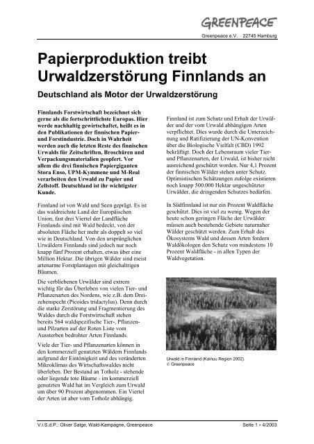 Papierproduktion treibt Urwaldzerstörung Finnlands an Deutschland ...