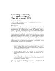 Glaciology summary – MY Arctic Sunrise, East Greenland, 2009