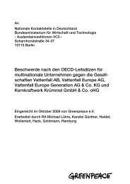Greenpeace-Beschwerde nach den OECD