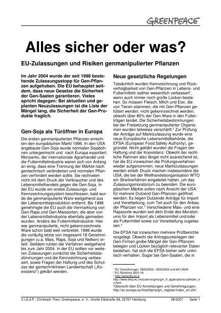 Gentechnik in Europa - Alles sicher oder was? - Greenpeace