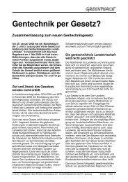 Gentechnik per Gesetz? - Greenpeace