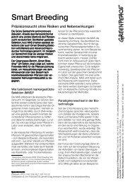 Smart Breeding - Präzisionszucht ohne Risiken und ... - Greenpeace