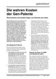 Die wahren Kosten der Gen-Patente - Kurzfassung - Greenpeace
