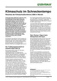 Klimaschutz im Schneckentempo. Resümee der ... - Greenpeace