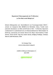 Kritische Stellungnahme zur Fütterungsstudie - Greenpeace