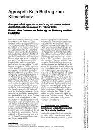 FS Agrosprit kein Beitrag zum Klimaschutz - Greenpeace