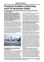 FS Finnland Kahlschlag auch für deutsches Papier ... - Greenpeace