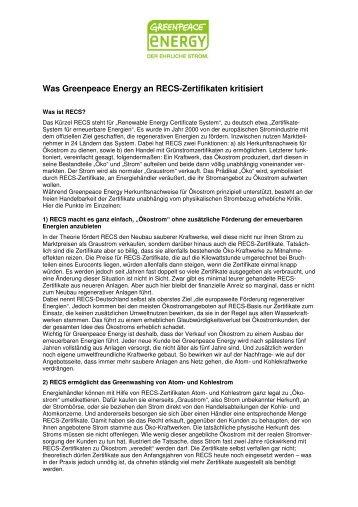 Positionspapier Was Greenpeace Energy an RECS-Zertifikaten