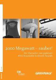 2000 Megawatt – sauber! Die Studie - Greenpeace