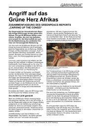 Angriff auf das grüne Herz Afrikas - Greenpeace