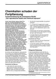 Chemikalien schaden der Fortpflanzung - Greenpeace