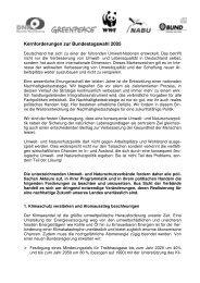 Kernforderungen zur Bundestagswahl 2005 - Greenpeace