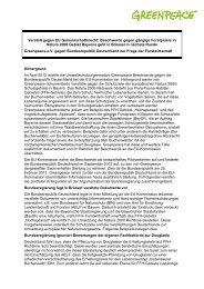 Verstoß gegen EU Gemeinschaftsrecht: Beschwerde ... - Greenpeace