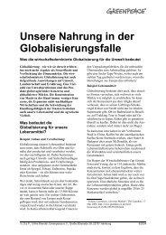 Unsere Nahrung in der Globalisierungsfalle - Greenpeace