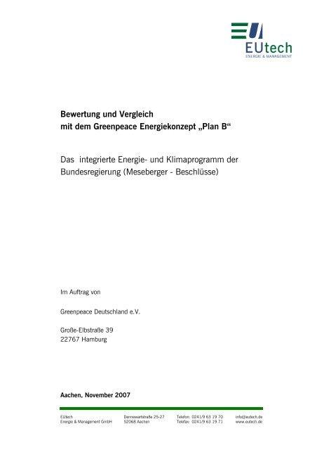 EUtech-Studie zum Klimaschutzprogramm der ... - Greenpeace