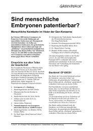Sind menschliche Embryonen patentierbar? - Greenpeace