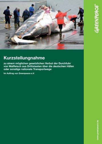 Durchfuhrverbot für Walfleisch - Greenpeace