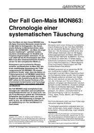 Der Fall Gen-Mais MON863: Chronologie einer ... - Greenpeace