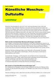 Factsheet: Künstliche Moschus-Duftstoffe - Greenpeace