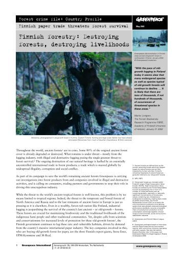 Finnish forestry: Destroying forests, destroying ... - Greenpeace