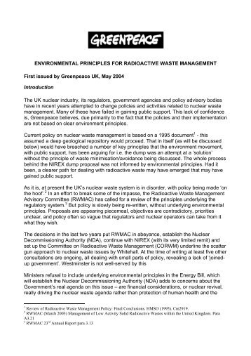 environmental principles for radioactive waste ... - Greenpeace UK