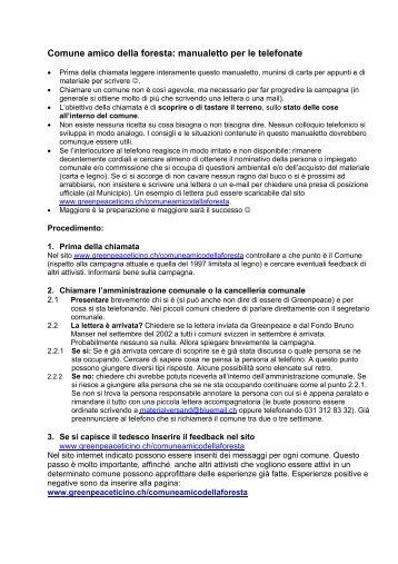 Manualetto delle telefonate - Greenpeace Ticino