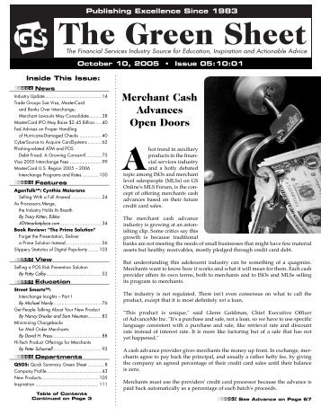 Merchant Cash Advances Open Doors - The Green Sheet