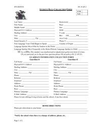 Student Data Collection Form