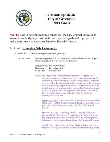 12-Month Update on 2011 City Council Goals - City of Greenville
