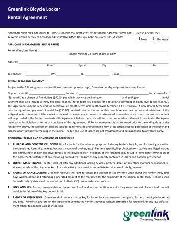 Greenlink Bicycle Locker Rental Agreement - City of Greenville