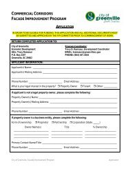 Facade Improvement Program Application and Owner ... - Greenville